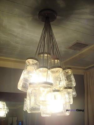 lampadario con barattoli